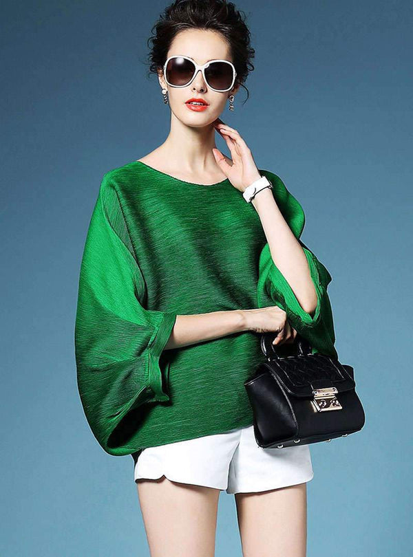 Solid Color Batwing Sleeves Loose Blouse