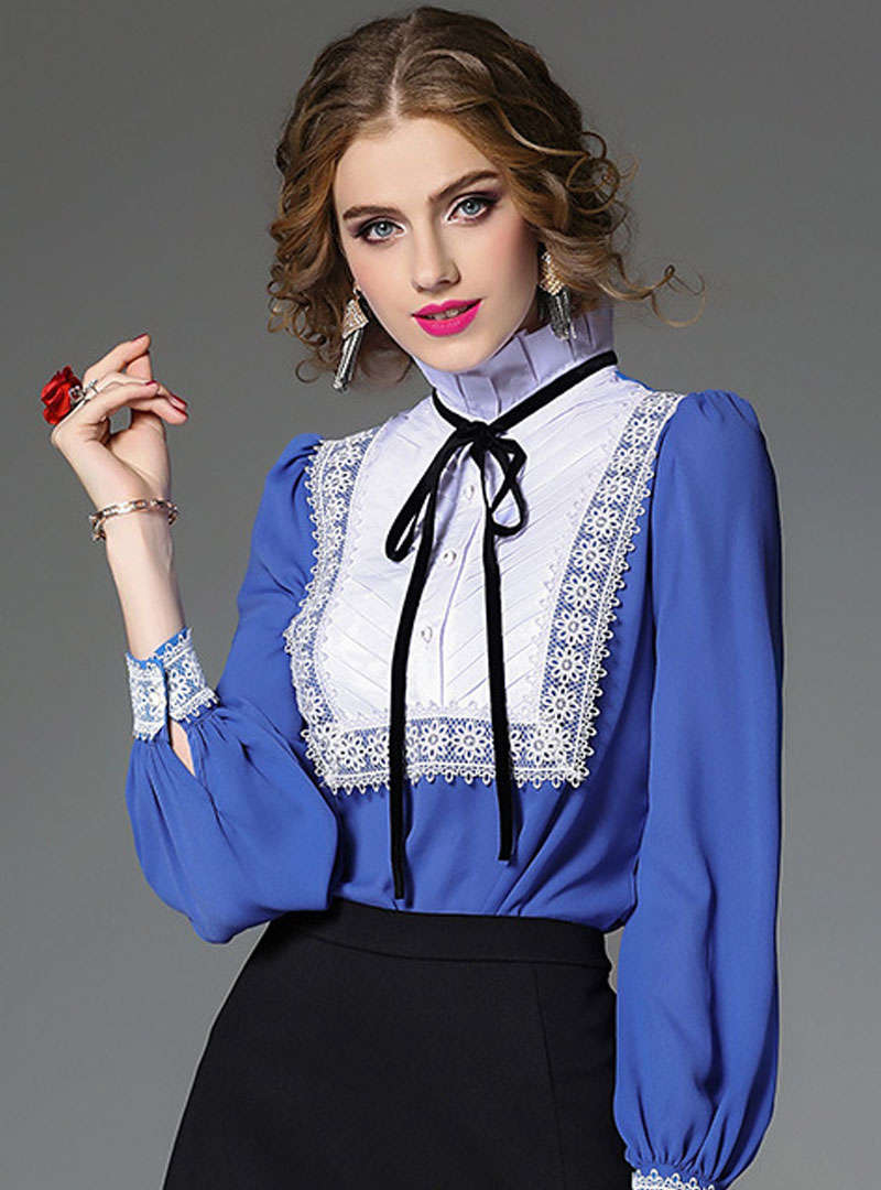 Blue Lantern Sleeve Ruffled Blouse With Bowknot