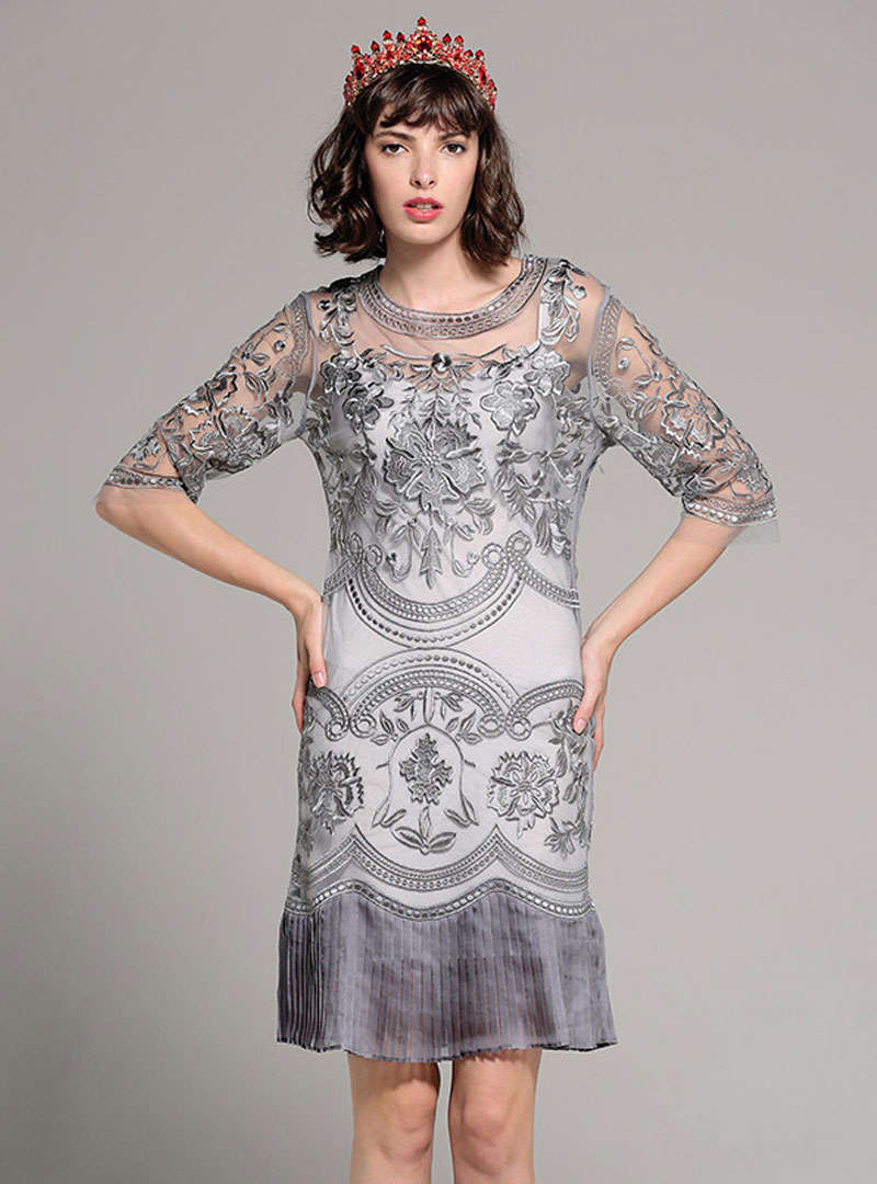 Grey Embroidered Fishtail Mini Dress