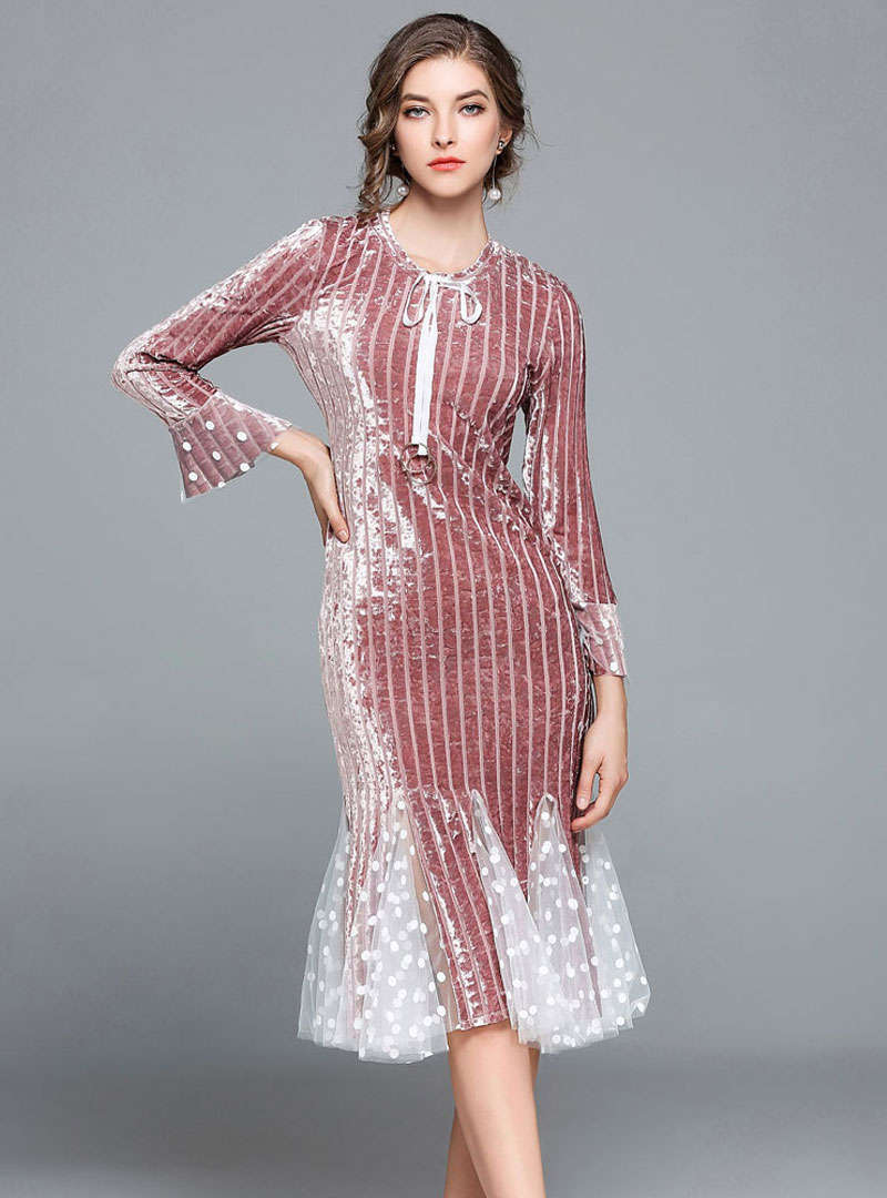 Solid Color Falbala Sleeve Mesh Spliced Midi Dress
