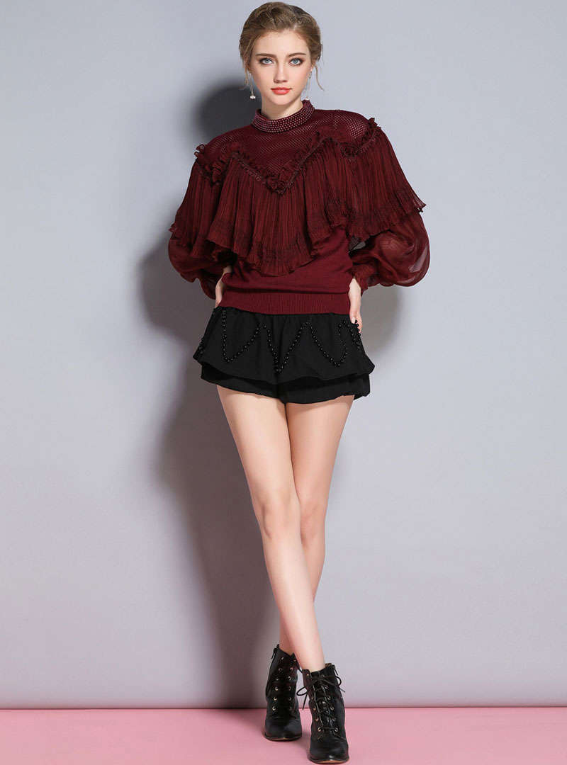 Solid Color Beaded Knitted Sweater