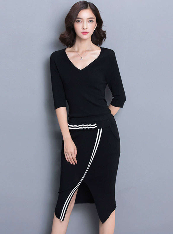 Black Split V-Neck Striped Two Piece Suit