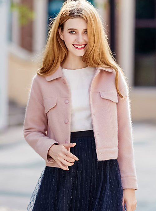 Pink Plain Wollen Quilted Jacket