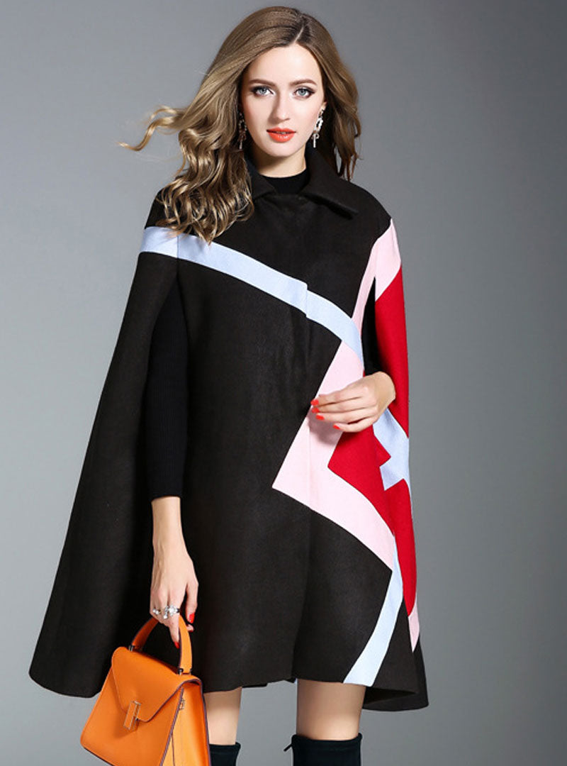 Multi Color Spliced Woolen Cloak Coat