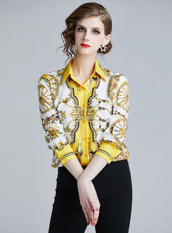 Yellow Shirt Collar Printed Shift Elegant Blouse