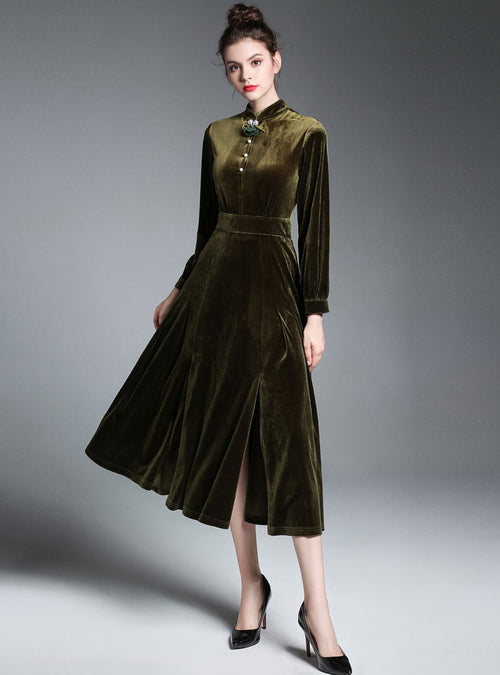 Army Green Thigh Split Tie Waist Midi Dress