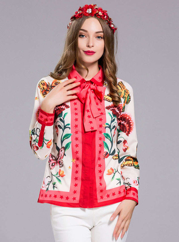 Multi Color Scenery Printed Bowknot Tie Blouse
