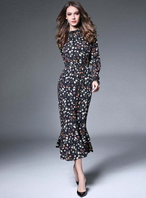 Black Floral Mermaid Maxi Dress