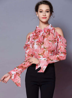 Pink Floral Printed Flare Sleeve Blouse