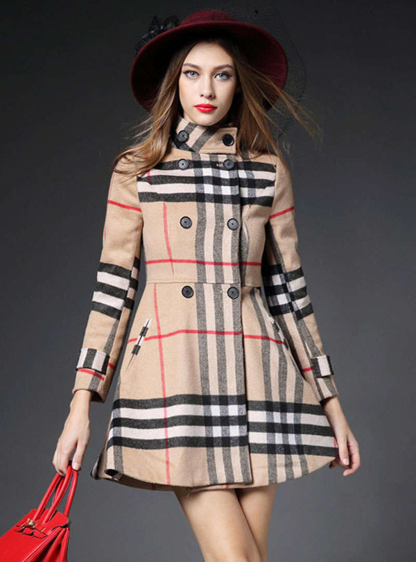 Khaki Wool Lattice Printed Slim Coat