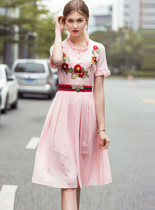Pink Floral Embroidered Cinched Waist Midi Dress