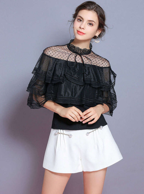 Black Double-Layer Flare Sleeve Knitted Sweater