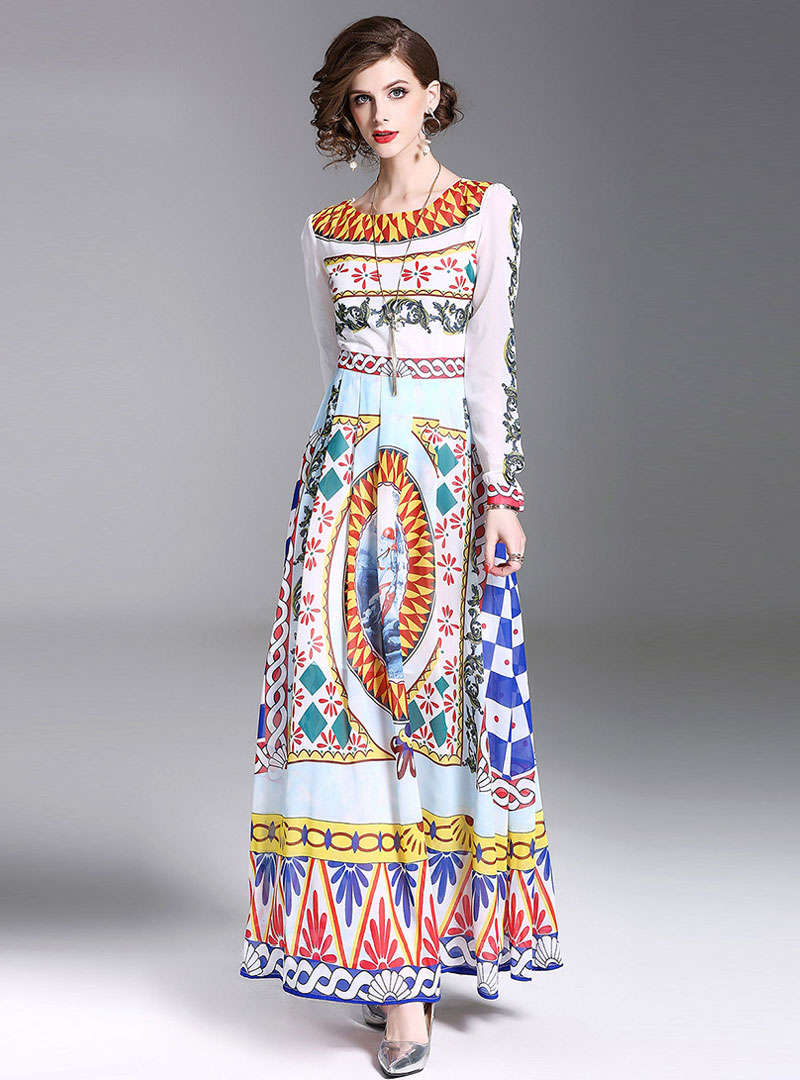 Floral Printed High Waist Swing Maxi Dress