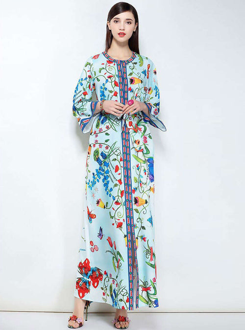 Floral Printed Split Belt Waist Maxi Dress