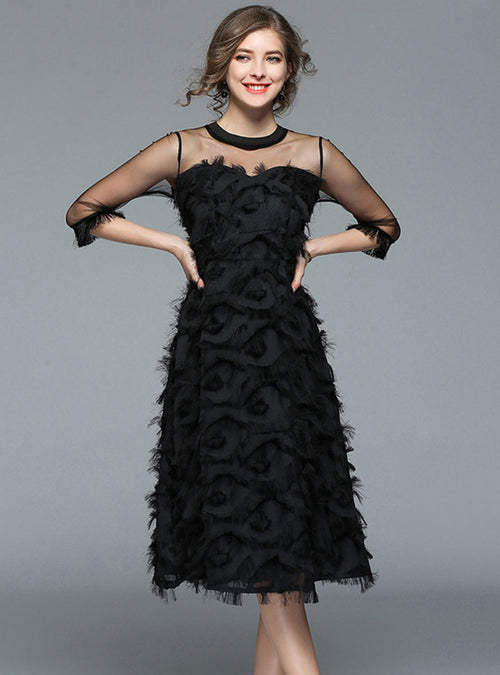 Black Mesh Hollow Out Feather Detail Midi Dress
