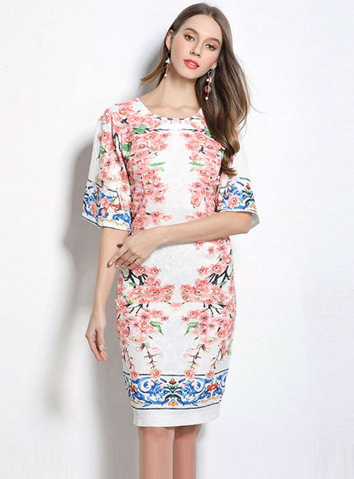 White Floral Printed Ethnic Mini Dress