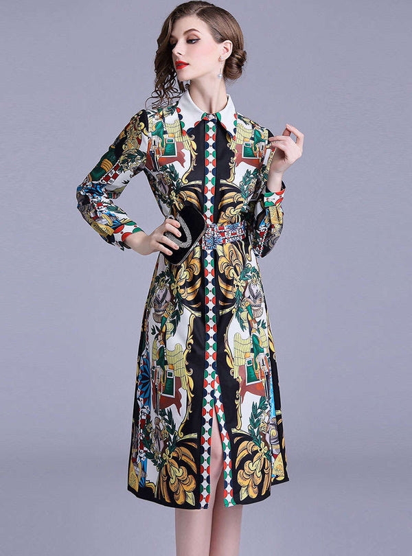 Retro Floral Printed Tie Waist Shirt Dress