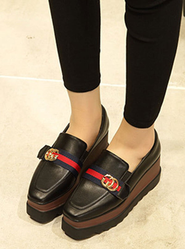 Stylish Buckle Details Platforms Slip-on Wedges