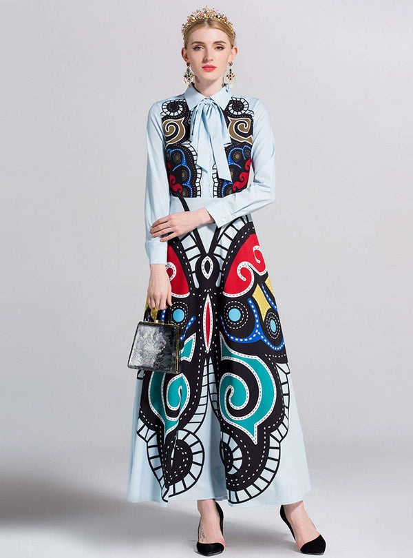 Multi Color Scenery Printed Tie Neck Maxi Dress