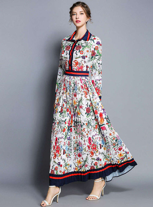 Floral Prined Lapel Ruffled Maxi Dress