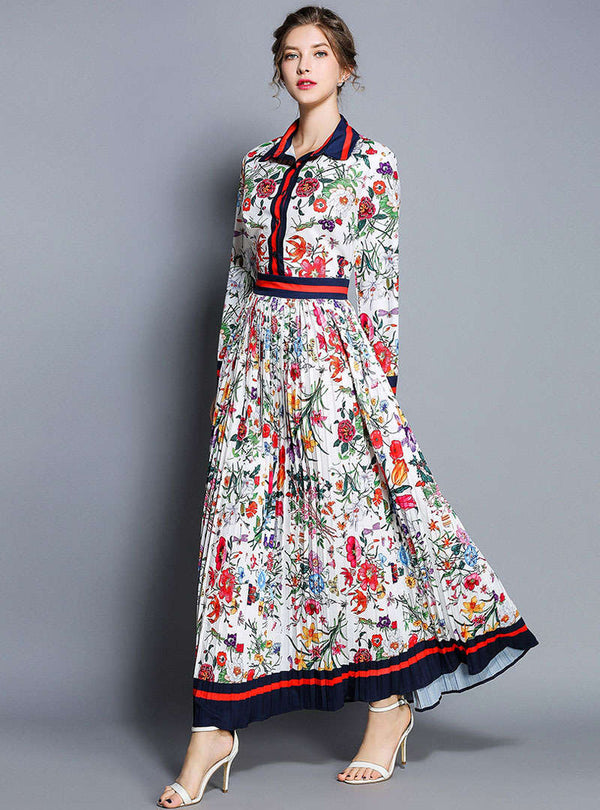 Floral Printed Lapel Ruffled Maxi Dress