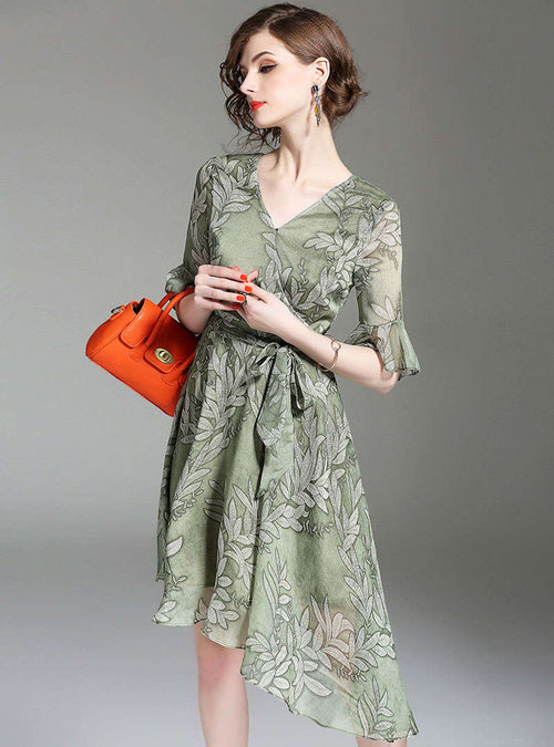 Floral Printed Asymmetric Hem Belted Midi Dress