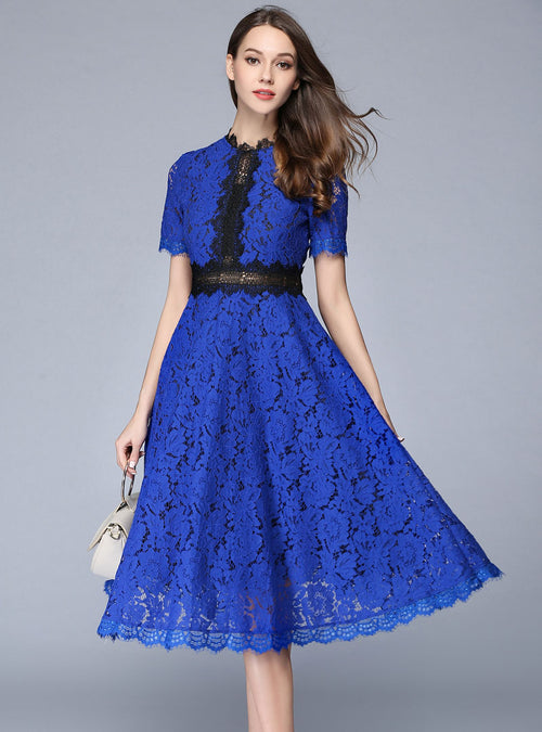 Solid Color Spliced Lace Hollow Out Midi Dress