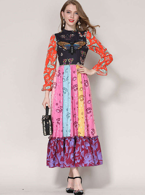 Multi Color Scenery Printed Swing Maxi Dress