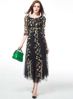 Black Floral Embroidered Loose Maxi Dress