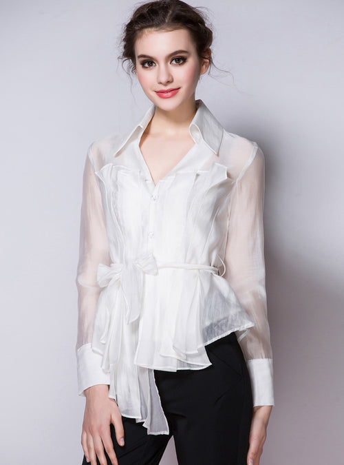 White V-Neck Long Sleeve Blouse