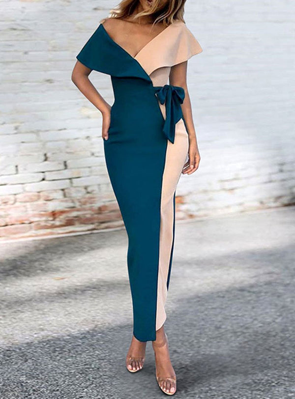 Deep V-Neck Sexy Bodycon Dress With Bowknot