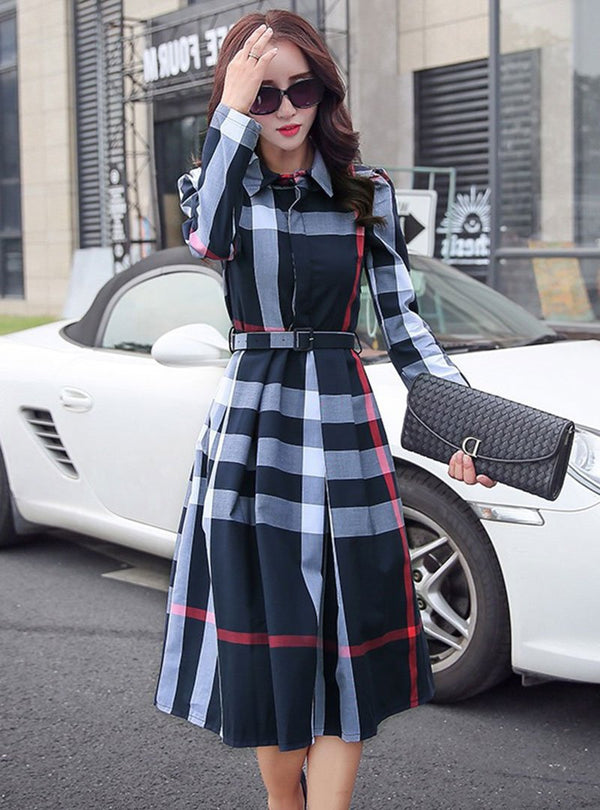 Daily Casual Acetate Checkered Plaid Midi Dress