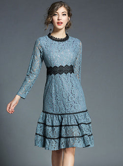 Light Blue Embroidered Hollow Pleated Lace Midi Dress