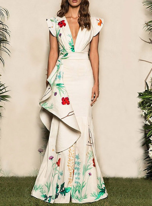 White Floral Printed Mermaid Evening Dress