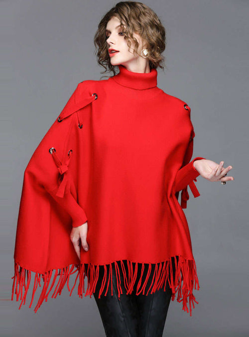 Red Fringe Bat-Wing Sleeve Knitted Sweater