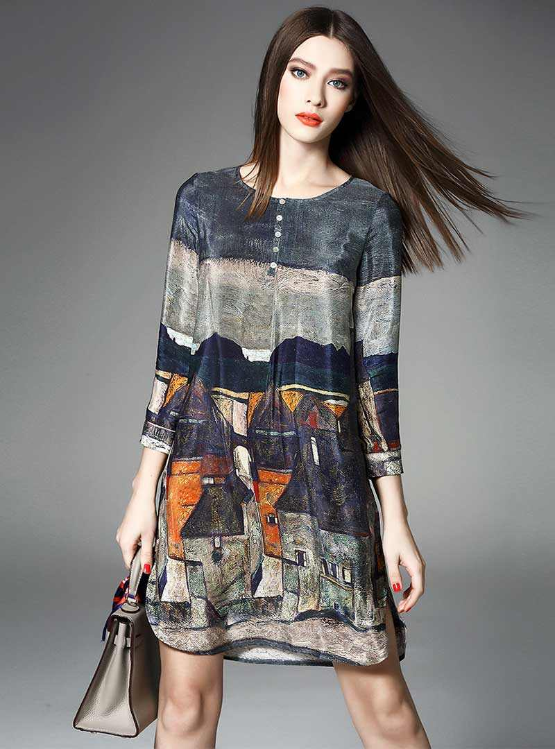 Multi Color Scenery Printed Silk Mini Dress