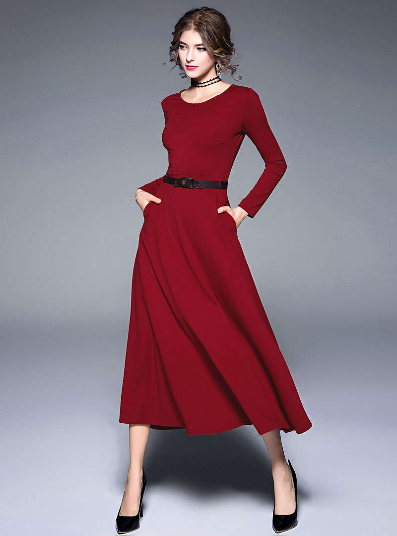 Solid Color Belt Waist Swing Maxi Dress