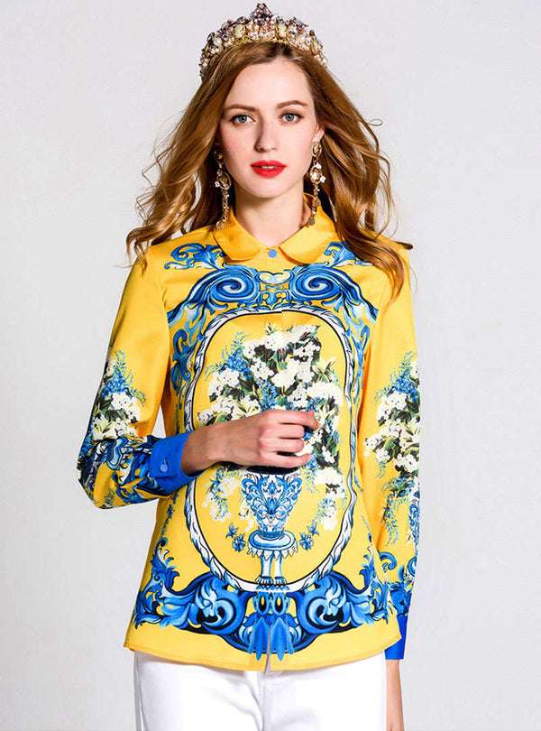 Yellow Scenery Printed Long Sleeve Blouse