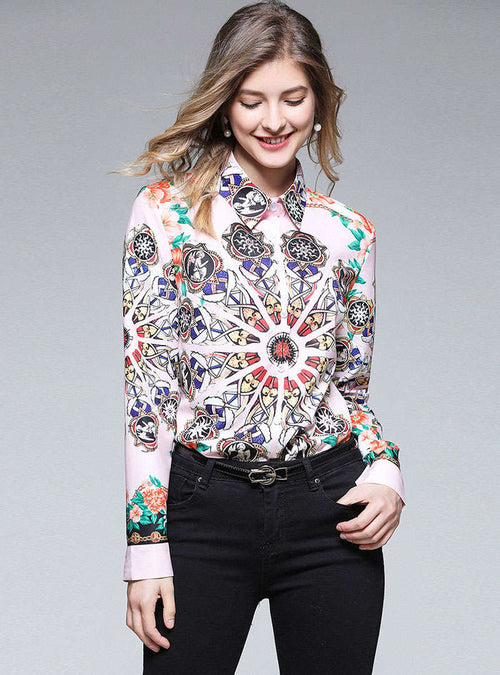 Multi-Color Floral Printed Asymmetric Hem Blouse