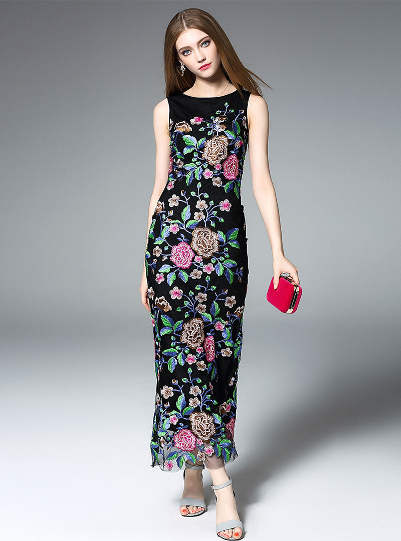 Black Floral Embroidered Mesh Maxi Dress