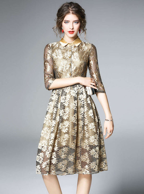 Gold Sequin Floral Front Buttoned Midi Dress
