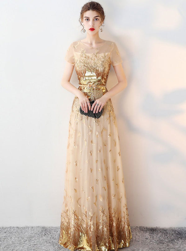 Golden Embroidered Big Swing Evening Dress