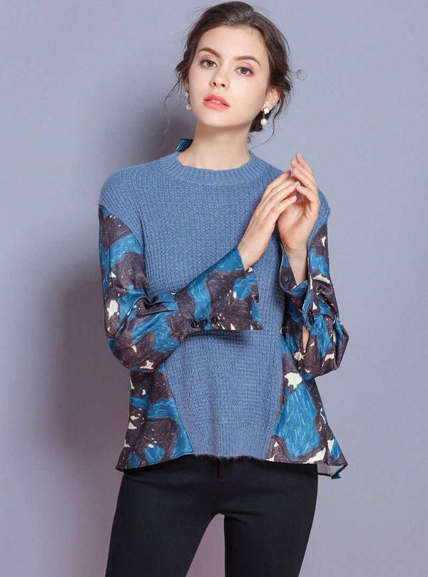 Blue Printed Spliced Knitted Sweater