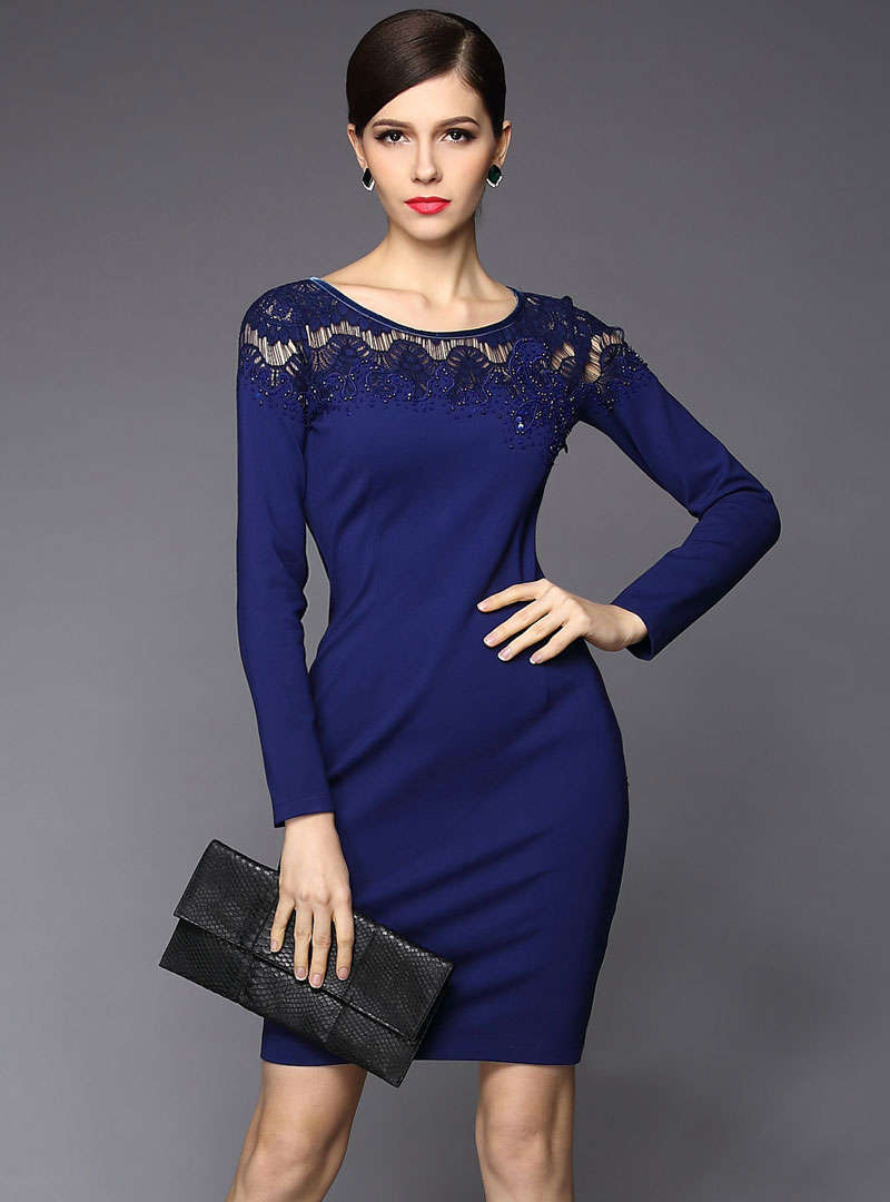 Blue Round-Neck Hollow Out Bodycon Mini Dress
