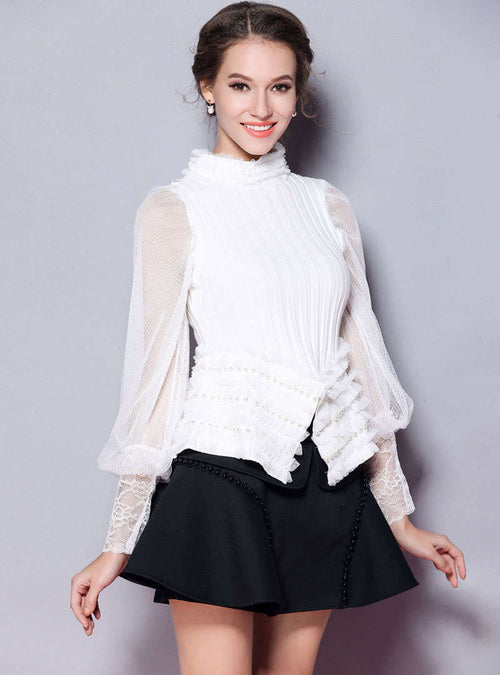 Solid Color Lantern Sleeve Knitted Sweater