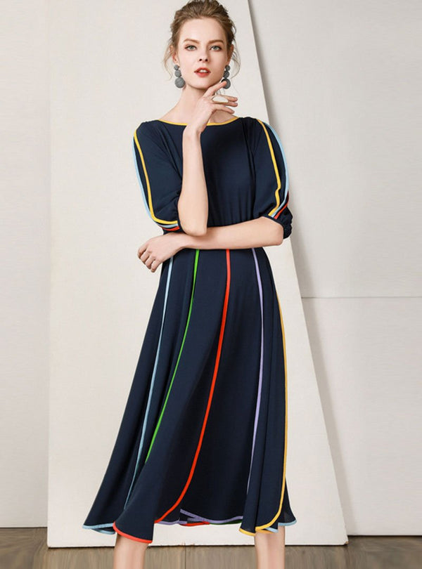 Navy Blue Striped Chiffon Dress