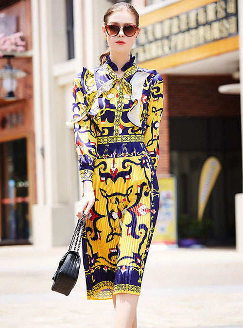 Retro Abstract Printed Bow Neck Ruffled Midi Dress