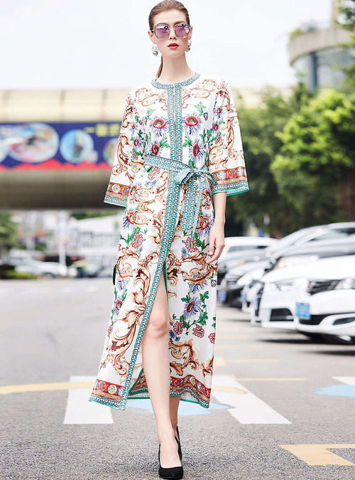 Retro Floral Printed Flare Sleeve Maxi Dress