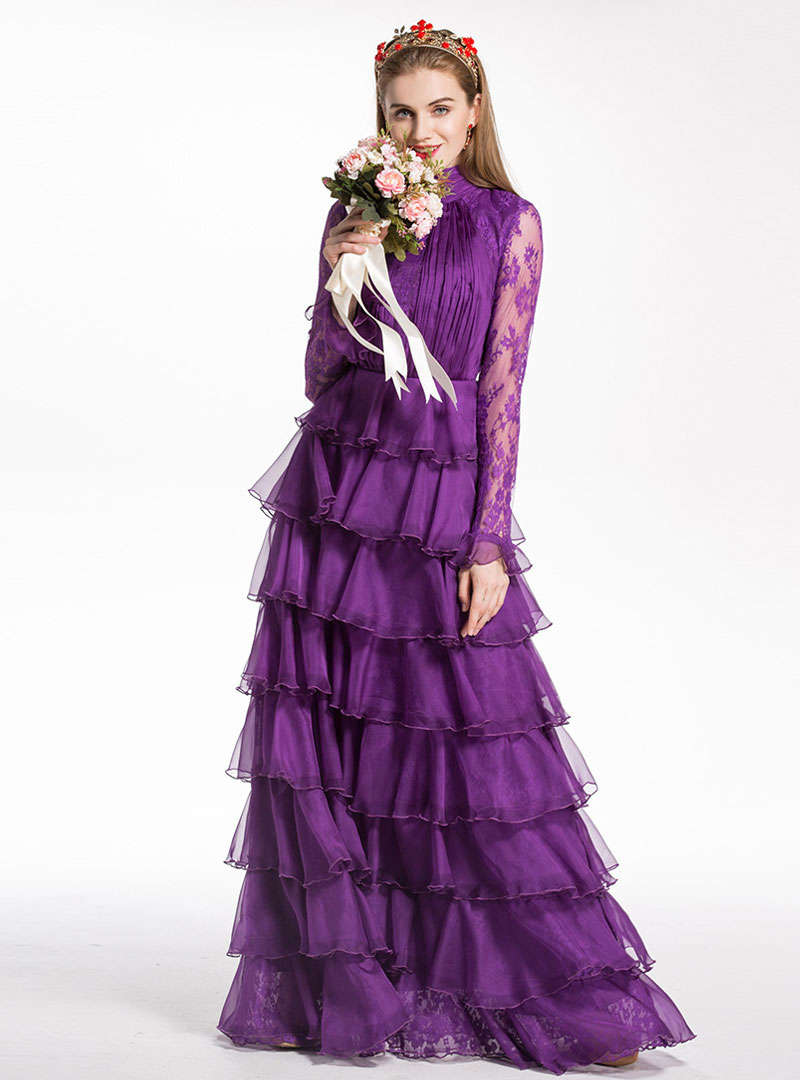 Purple Water Soluble Lace Princess Maxi Dress