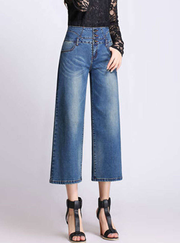 Blue Fringe Loose Wide Leg Jeans